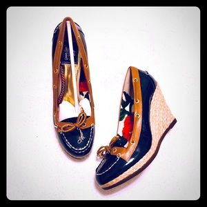 Milly x Sperry Top-Sider Cunard Navy Patent Wedges